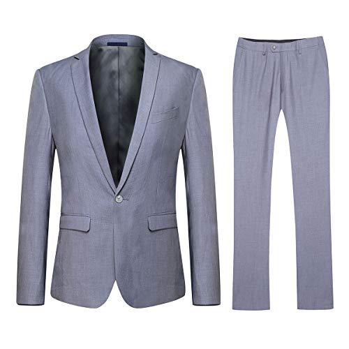 (YFFUSHI Mens One Button Formal 2 Piece Suits Slim Fit Multi-Color Wedding Tuxedo Light Grey)