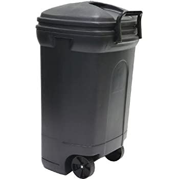 United Solutions TB0010 Rough And Rugged Rectangular 34 Gallon Wheeled  Black Outdoor Trash Can With Hooku0026Lock