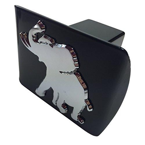 University of Alabama METAL pachyderm elephant emblem on black METAL Hitch Cover
