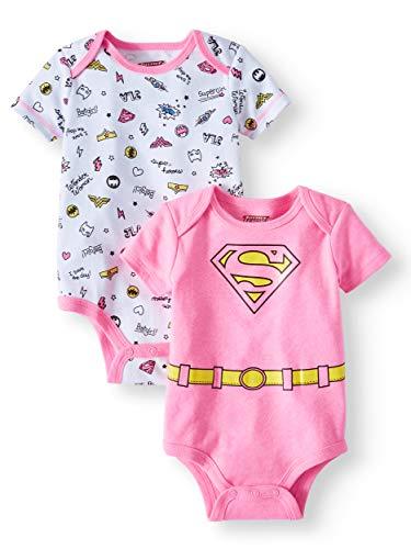 DC Comics Super Girl Supergirl Super Hero Themed Infant Bodysuit 2-Pack (Newborn) Pink]()
