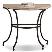 Modern Transitional Stone Top Accent Console Entryway Table with Curved Legs and Bronze Metal Base - Includes Modhaus Living Pen