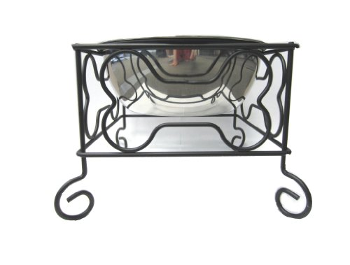 YML 7-Inch Wrought Iron Stand with Single Stainless Steel Bowl – Size: Medium (6.75″ H x 8.25″ W x 8.25″ D), My Pet Supplies