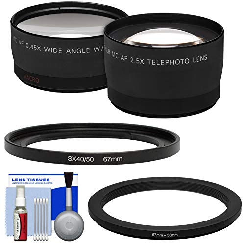 Bower FA-DC67A Adapter Ring (67mm) with .45x Wide Angle & 2X Telephoto Lenses + Cleaning Kit for Canon PowerShot SX530, SX540 & SX60 HS Camera