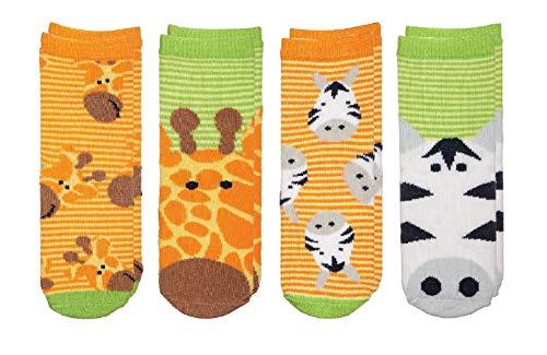 (FlapJackKids - Kids' Sock Safari - Giraffe/Zebra - Baby Boy (0-12 mos)(4 Pairs))