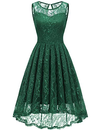 Gardenwed Women's Vintage Lace High Low Bridesmaid Dress Sleeveless Cocktail Party Swing Dress Forest Green S