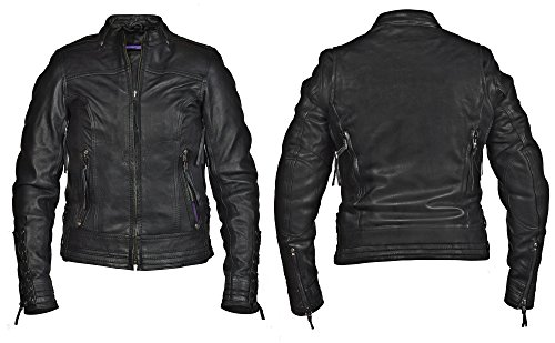 Black Jacket Leather Interstate - Fieldsheer Interstate Jazz Womens Motorcycle Jacket Black Leather XXL