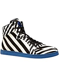 Men's Zebra Print Calf Hair/Leather High-top Sneaker 353412