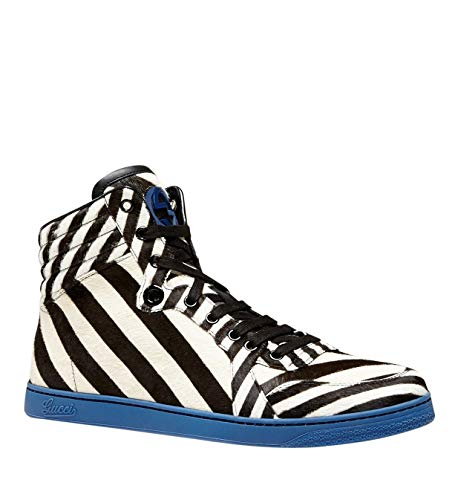 Gucci Multi-Color Zebra Print Calf Hair High top Sneaker 353412 (9.5 G / 10 US) (Top High Sneakers Zebra)