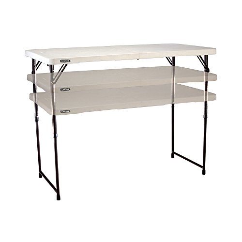 Lifetime 4428 Height Adjustable Folding Utility Table, 48 by 24 Inches, White Granite