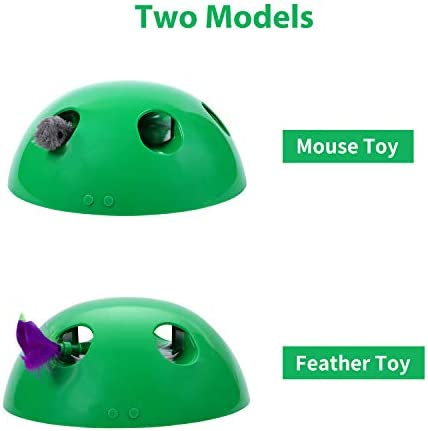 Sorinly Automatic Interactive Motion Cat Toy, Peek-A-Boo Play with Smart Random Moving Mouse Teaser & Feather, Built-in Mouse Squeak Sound & Auto Off, Funny Electronic Pet Toy for Kitty Scratching Tra 3