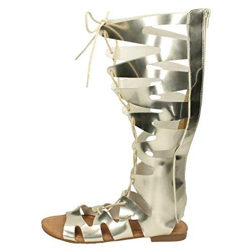 Oro Lace Gladiatore Up Spot Ladies Sandali On EYxwqZvwR