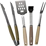 Den Haven Stainless Steel BBQ Accessory Grill Tool Set – 4 Piece Barbeque Grilling Utensils - Tongs, Brush, Spatula, Meat Fork
