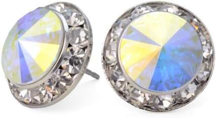 PammyJ Aurora Borealis 15mm Crystal Earrings