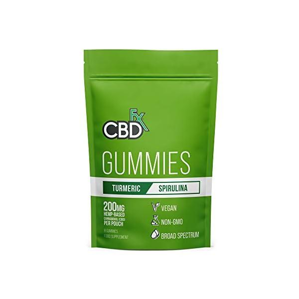 CBDfx Turmeric & Spirulina Gummies (8 Gummy Pouch) – 200mg CBD Oil