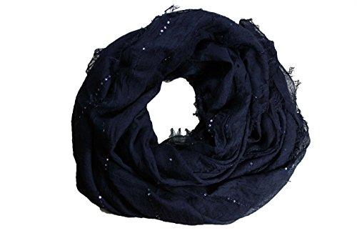 1383ff8e1ea FERETI Grand foulard Noir à sequins paillettes broderies et franges argent  Echarpe  Amazon.fr  Bagages