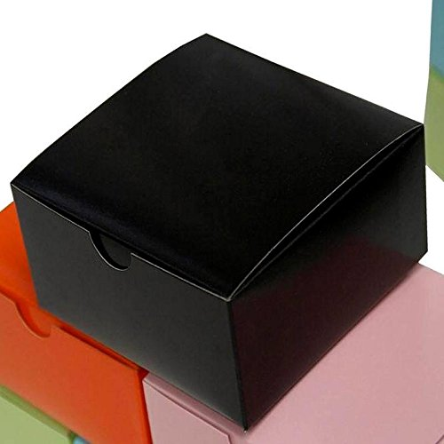(Efavormart 100pcs of 4x4x2 Black Cake Box for Candy Treat Gift Wrap Box Party Favor Boxes for Bridal Shower Wedding Party )