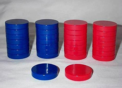 Khan Imports Blue and Red Checkers, Replacement Checker Pieces Only - Large, 1 1/2 Inch by Khan Imports