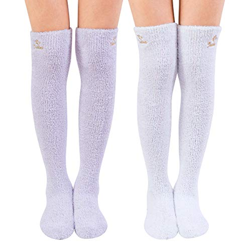 Skola Super Soft Warm Fuzzy over the Knee High Long Winter Cozy Slipper Socks - 2 Pairs-Value Pack (Dark Purple/Blue)