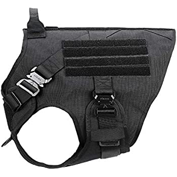 ICEFANG Tactical Dog Harness,K9 Working Dog Vest,Loop Patch Panel MOLLE,No Pulling Front Clip Leash Attachment (XXL (36