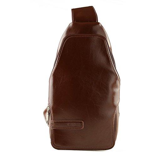 Sincere® La bolsa de mensajero marrón del bolso del ocio del mensajero / bolso de deportes al aire libre en el pecho / Estudiante Mochila / de los hombres