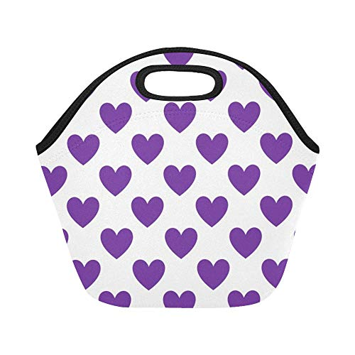 Insulated Neoprene Lunch Bag Purple Heart Love Valentine Pattern Design Icon Large Size Reusable Thermal Thick Lunch Tote Bags For Lunch Boxes For Outdoors,work, Office, School from XINGCHENSS