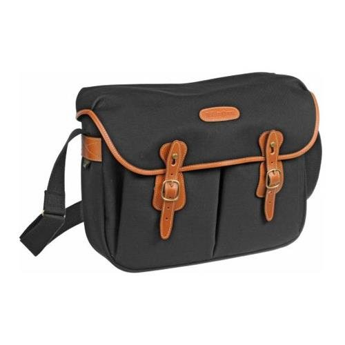 - Billingham Hadley Large, SLR Camera System Shoulder Bag, Black Canvas with Tan Leather Trim and Brass Fittings