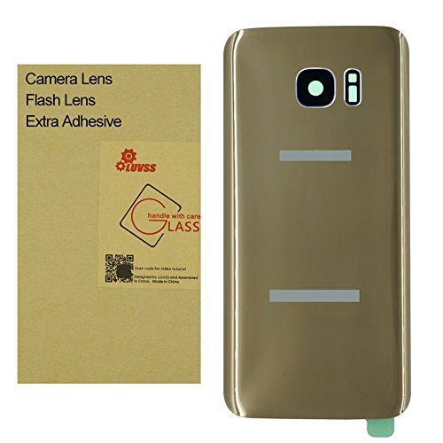Gold Housing Cover - LUVSS Back Glass with [Extra Adhesive] for Samsung Galaxy S7 (All Carriers) Rear Glass Panel Battery Door Cover Housing Replacement with Camera Glass + Flash Lens (Gold)
