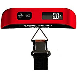 Travel Inspira Digital Luggage Scales with Overweight Alert Rubber Paint Technology White Backlight LCD Display 110LB / 50KG - Red