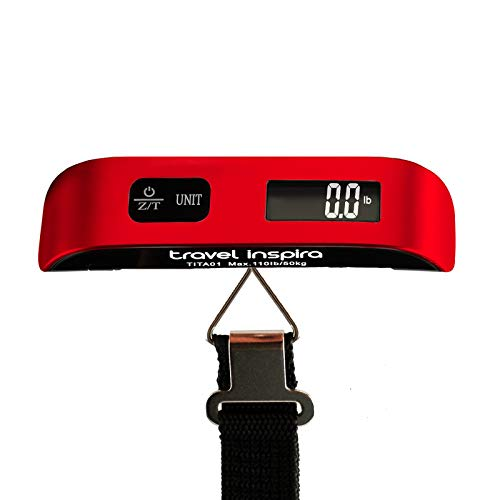 (Travel Inspira Digital Luggage Scales with Overweight Alert Rubber Paint Technology White Backlight LCD Display 110LB / 50KG - Red )