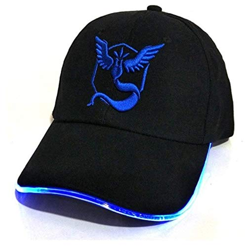 PLAYOLY Team GO Theme Light Up Hat - Unisex One Size Fits Most Adjustable Baseball Cap with Embroidered Team Mystic Inspired Logo Stitching Black