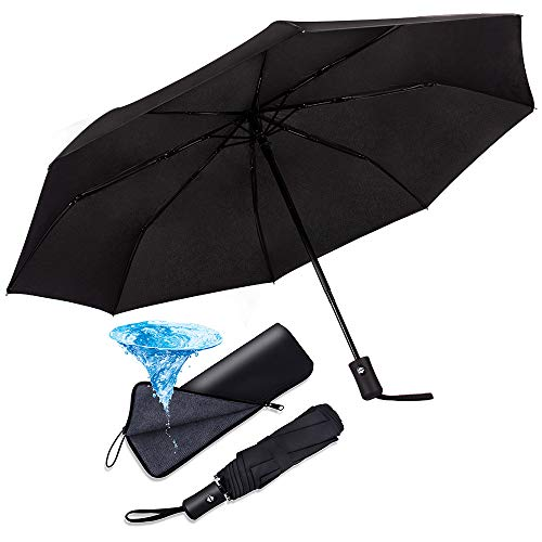 SIMENMAX Compact Automatic Folding Umbrella Windproof &Waterproof Lightweight Travel Umbrella with Black Water-Absorbing Storage Bag for Golfers, Business Professional or Daily Use