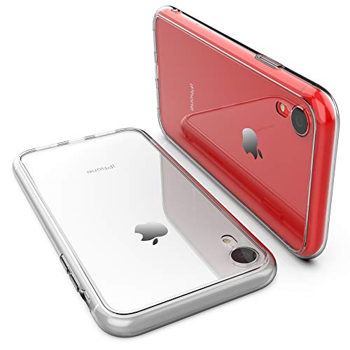 Clear Hard Glass - iPhone XR Case,RORSOU Clear Hard 9H Tempered Glass Back Cover [Anti-Scratch] + Soft TPU Bumper [Slim Thin] Premium Hybrid Protective Case for Apple iPhone XR 6.1 Inch (2018) - Crystal Clear