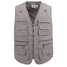 LUSI MADAM Men's Poplin Outdoors Travel Sports Pockets Vest