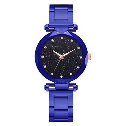 2019 Simple and Elegant Men's and Women's Girls and Boys Watches_Shi Tou_Fashion Simple Star Sky Multi Faceted Bump Dial Ladies Steel Belt Quartz Watch (Faceted Leather Belt Black Buckle)