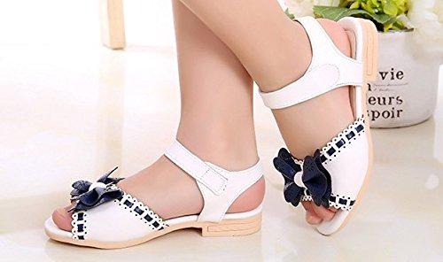 Ohmais Kinder Mädchen flach Freizeit Sandalen Sandaletten Kleinkinder Mädchen Halbschuhe Sandalette Ballerinas Weiß
