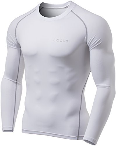 - Tesla TM-YUD34-WHT_Large Men's Thermal Wintergear Compression Baselayer Long Sleeve Top YUD34