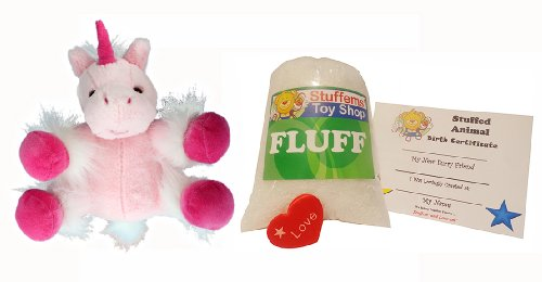 Make Your Own Stuffed Animal Mini 8 Inch Very Soft Pink Unicorn Kit - No Sewing - Stuffable Animal