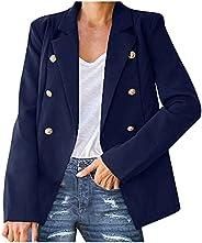 Womens Slim Office Jacket Coat Autumn Ladies Solid Turndown Collar Crop Cardigan Blazer Outerwear Tops