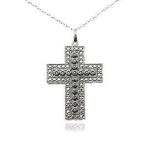 Plata de ley negro & diamante blanco énfasis Cruz collar