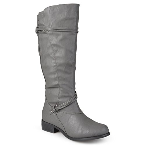 Journee Collection Womens Regular Sized and Wide-Calf Ankle-Strap Buckle Knee-High Riding Boot (9 Extra Wide Calf, Grey)