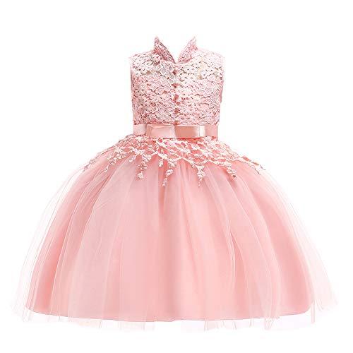 FREE FISHER Girls Chinese Cheongsam Stand Collar Lace Tutu Princess Dress Photography Wedding, Pink, 3-4 Years ()