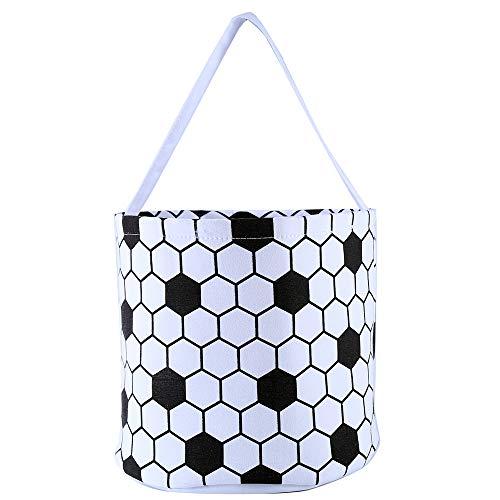 E-FirstFeeling Soccer Basket Easter Basket Easter Hunt Bag Easter Egg Candy Basket Gift Toy Basket Stroge Bucket Tote (Soccer)]()