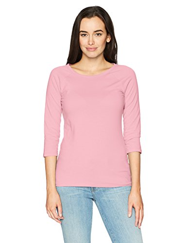 (Hanes Women's Stretch Cotton Raglan Sleeve Tee, Paleo Pink, X)