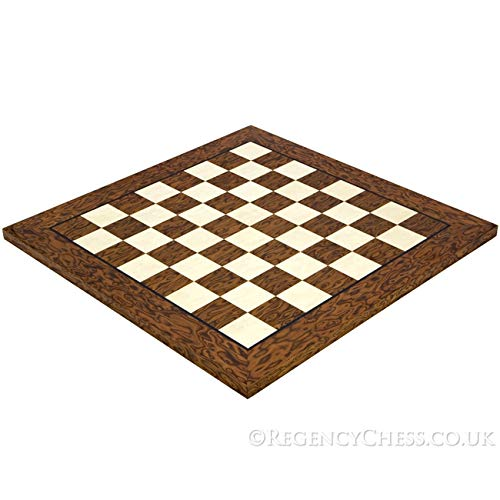 Regencychess 17.7 Inch Lacquered Cocoa Ash Burl and Erable Deluxe Chess Board - Burl Veneer Game