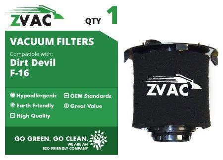 Dirt Devil F-16 Hepa Filter (Dirt Devil F16 Replacement HEPA Filter & Foam Filter - Similar to Dirt Devil Part F-16 # 1-JW1100-000, 2-JW1000-000 or 1JW1100000, 2JW1000000 - Made by ZVac)