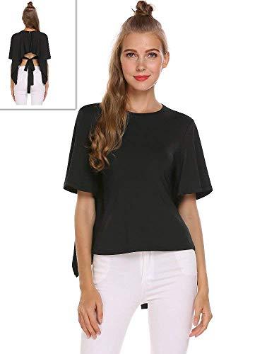 Button Femme Shirt Chic Mode Schwarz T Col lgant Bouffant Confortable breal Uni Et Courtes Manche Tshirt Rond Manches Bandage Shirts Haut Bowknot 6dqBBA