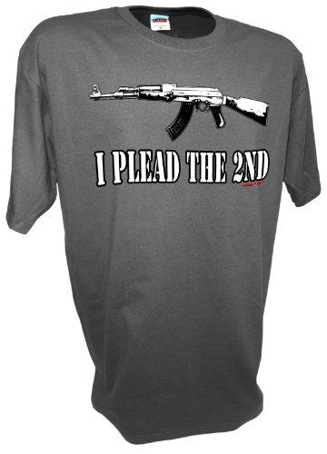 Men's Ak47 I Plead the 2nd Second Amendment Pro Gun Rights Ar15 M16 7.62mm Semi Auto Assault Rifle Ban T Shirt By Achtung T Shirt LLC
