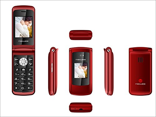 Flip Phone 3G GSM Unlocked BIG BUTTONS Dual Sim Maxwest Vice 3G FLIP + Extrenal LCD Bluetooth Mp3 Camera SOS Elderly (3g Red Phone)
