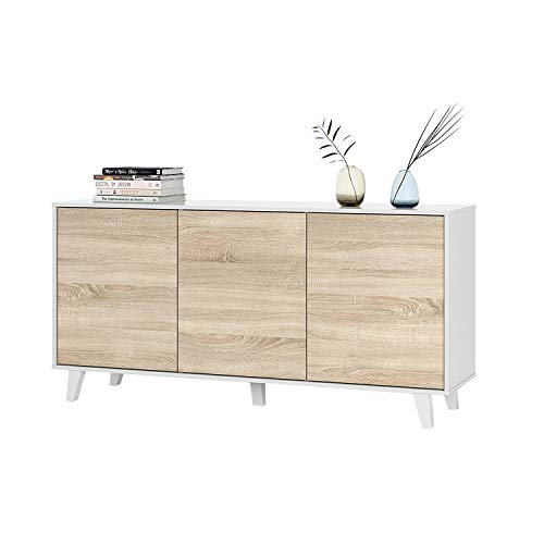 ZAIKEN PLUS Buffet contemporain blanc brillant et decor chene canadien - L 154 cm