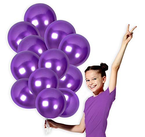 Purple Metallic Balloons 12 Inch Violet Thick Latex Balloon Bulk Pack of 100 and 65 Yards Curling Ribbons Party Supplies for Mardi Gras Masquerade Ball Wedding Bridal Baby Shower Birthday Decorations ()